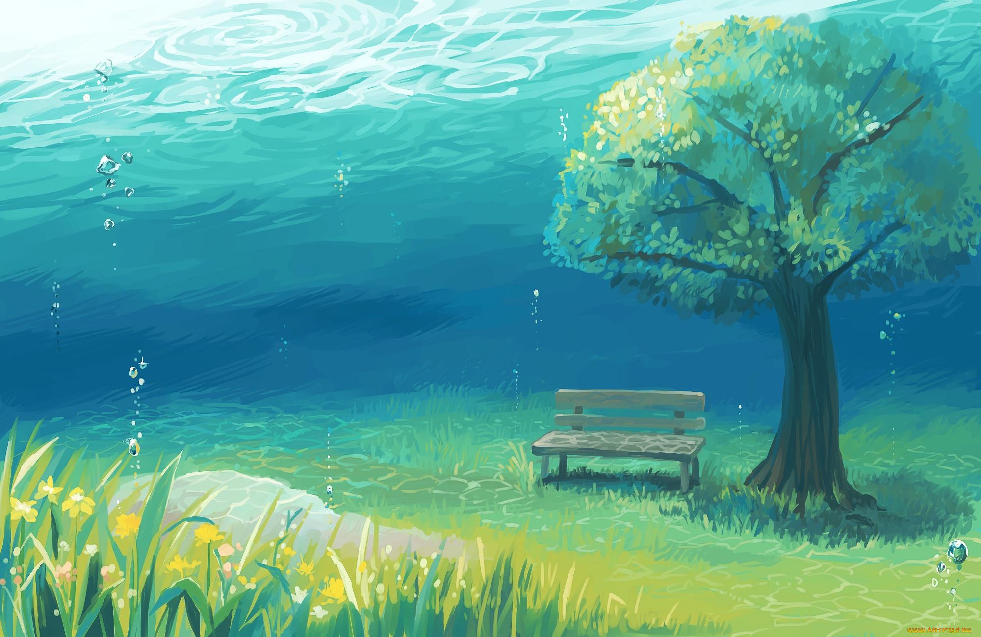 уровень рисунок с деревом и водой как делалось